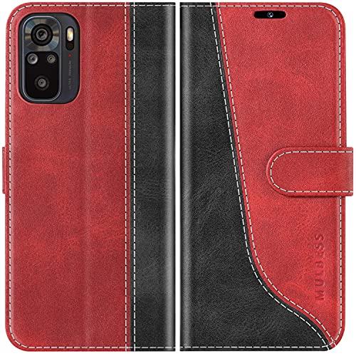 Mulbess Handyhülle Kompatibel mit Xiaomi Redmi Note 10 Hülle, Xiaomi Redmi Note 10 Hülle Leder, Etui Flip Handytasche Schutzhülle für Xiaomi Redmi Note 10 Hülle, Wine Rot