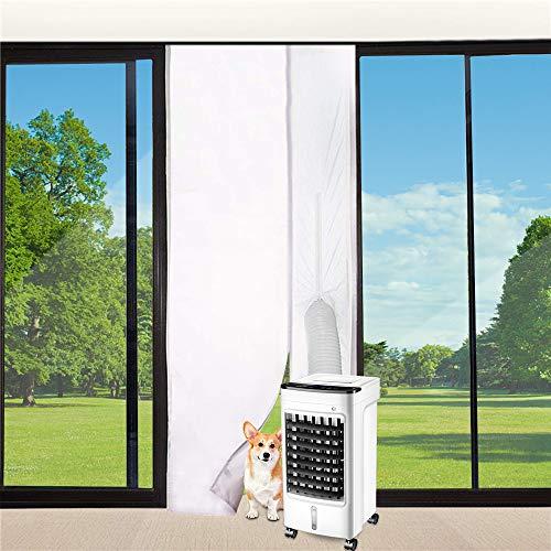 Vegena Türabdichtung Für Mobile Klimageräte, Klimaanlagen Wäschetrockner Ablufttrockner Hot Air Stop mit Reißverschluss zum Anbringen an Balkontüren Alternative zur Fensterabdichtung 90x210cm