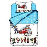 Aminata Kids Kinderbettwäsche 100x135 Junge, Jungen Feuerwehr-Auto Feuerwehr-Mann-Motiv Baumwolle Kinder-Baby-Bettwäsche-Set, hell-blau, weiß, bunt & rot Reißverschluss