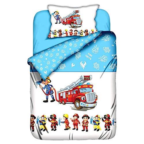 Aminata Kids Kinderbettwäsche 100-x-135 Junge Feuerwehr-Mann-Motiv Baumwolle Baby-Kinder-Bettwäsche-Set Auto-Motiv, hell-blau, weiß, bunt & rot mit Reißverschluss - Bettbezug für Kinder-Bett, Polizei