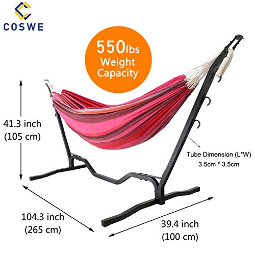 COSWE Double Hammock Stand Powerful Weight Supported Portable Adjustable Hooks Garden Backyard...