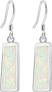 Fire Opal Earrings for women Rose Gold Plated Mystic Opal Drop Earrings Birthstone Gifts Jewelry