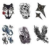 6 Tatuajes temporales para adultos hombres,Tatuaje Temporales temporär Tattoo tatuaje cuerpo pegatinas Brazo pecho y espalda - Tribal Escorpión Cráneo Águila León Lobo