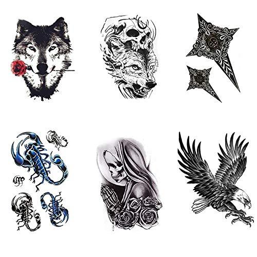 6 Braccio Tatuaggio Temporaneo corpo tattoo Adesivi impermeabile tatuaggi temporanei per adulti, uomo, Cranio, tribale, Scorpione, Aquila, Leone, Lupo