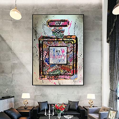 Graffiti Perfume Street Art lienzo impreso pintura cuadro de pared moda moderna mujer sala de estar decoración del hogar póster 40x60 CM (sin marco)
