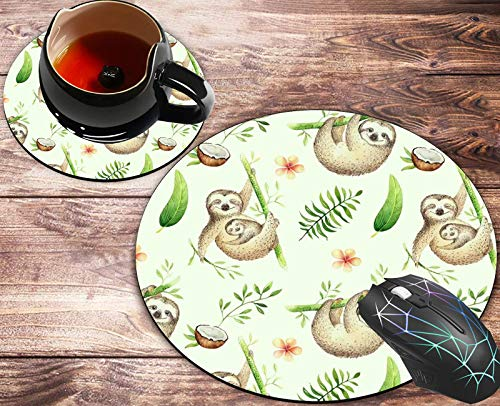 Round Mouse Pad and Coasters Set,Baby Animals Sloth,Watercolor Boho Tropical Drawing Palm Tree Leaves Mouse pad,Anti Slip Rubber Round Mousepads Desktop Notebook Mouse Mat for Working and Gaming