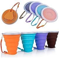 DeHub Copas de Silicona Plegables, Taza de Viaje Plegable de Silicona,FDA y BPA Gratis Capacidad más Grande 270ML Tazas de Beber Plegables,4piezas (Naranja, Azul, Púrpura, Café, 4piezas)