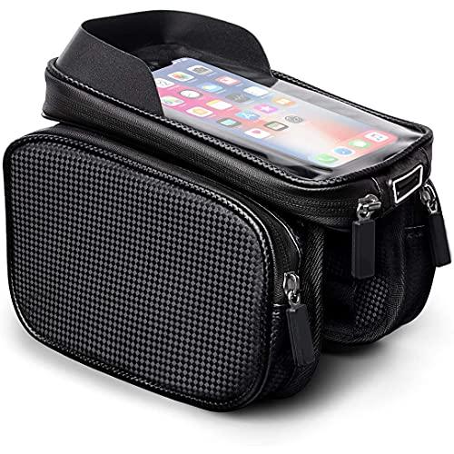 Bolsa para cuadro bicicleta con soporte para teléfono,bolsa impermeable para bicicleta Bolsa para bicicleta con superior y visera para pantalla táctil Adecuado para teléfonos móviles menos de 6.8 '