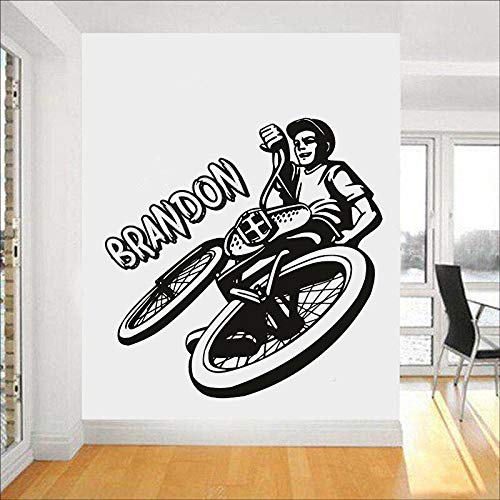 Mountain Bike Wall Decals Personalized Vinyl Window Stickers Kids Boys Bedroom playroom Home Decoration Art Wallpaper
