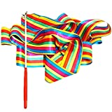 Wakerda 2 cintas de gimnasia rítmica de colores de 4 m para niños, cinta de baile, baton de baile, baton de baile, cintas rítmicas con varita artística (patrón de cruz colorida + crepé satinado)