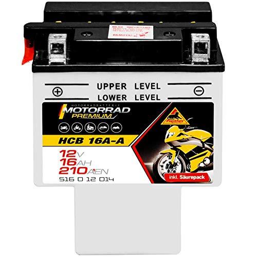 Panther Premium HCB16A-A Motorradbatterie 12V 16Ah 200A/EN 51612 Quad Batterie