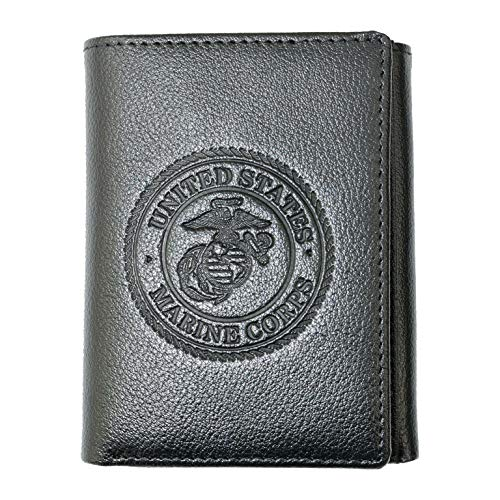 Mitchell Proffitt Officially Licensed U.S. Marine Corps Leather Wallet - Trifold with RFID Protection, Black, One Size