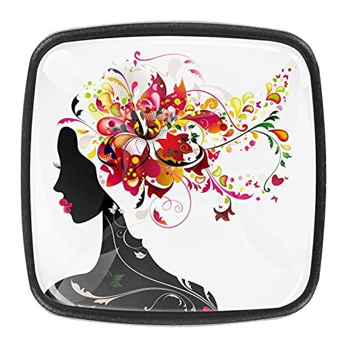 (4 piezas) pomos de cajón para cajones, tiradores de cristal para gabinete, hogar, oficina, armario, niña, mariposa, flores, 35 mm