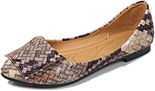 Women's Pointed-Toe Flat Shoes, Large Size 1Cm High Stitching And Various Colors Stitching Woven Casual Comfortable Single Shoes Suitable for Daily Walking without Tired