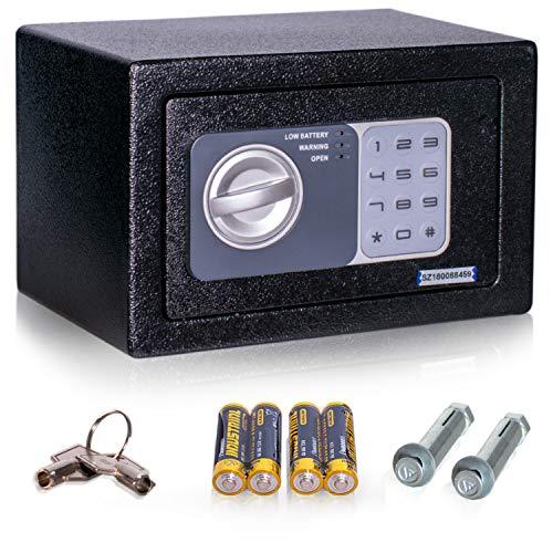 Anadol Tresor Basic, Elektronischer-Safe mit Zahlenschloss und Schlüssel, Möbeltresor, Doppelbolzen Verriegelung, Mini-Tresor, Wandtresor, Stahl-Safe 14,8×22,8×17cm, Gewicht 2,1kg – 4 L Volumen