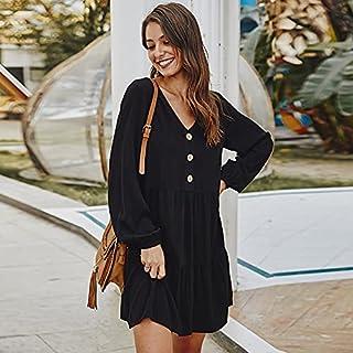 Domary Vestido feminino de cor sólida botão decote em V cintura alta babado hemline manga longa linha A mini elegante roup...