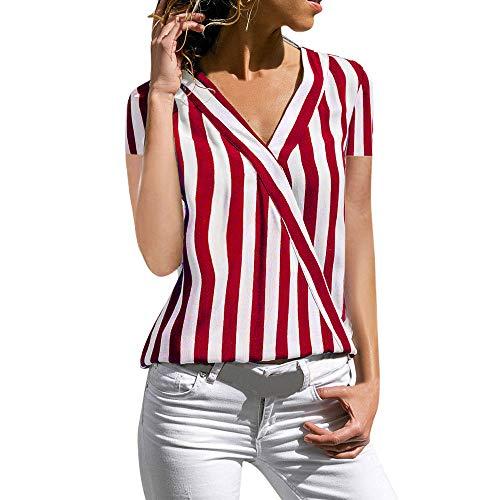 Frauen-T-Shirt beiläufiges gestreiftes Druck-Kurzarm-Hemd Bluse Button Down Tops(Rot 3,S)