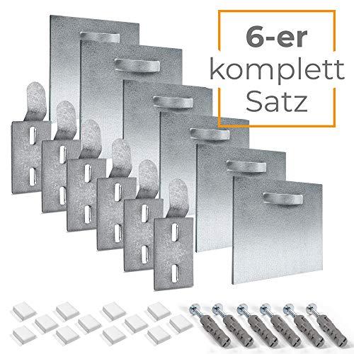 Juego de montaje de aluminio Dibond completo para imágenes y espejos – Soporte para espejos – Soporte de pared de chapa y soporte de pared (alta resistencia) 8 x 8 cm B. 6 unidades.