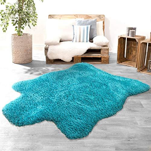 Langpolig XXL vachttapijt modern eenkleurig oversized knuffelig flokati imitatie turquoise