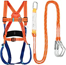 Full Body Safety Harness Tool Fall Protection with 5D-Rings and Waist Belt,Universal Personal Protective Equipment (A)