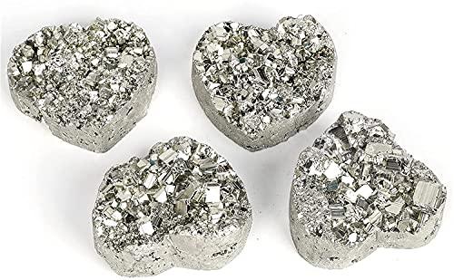 Cristal Curativo Piedras Preciosas Espécimen de piedras energéticas Decoración del hogar Regalo Terapia de cristal Pirita natural Forma de corazón Cristales de cuarzo Curación cruda y mineral LIO
