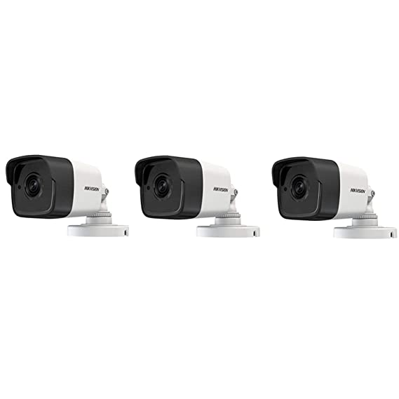 HIKVISION DS-2CE1AH0T-ITPF (5MP) UltraHD 4K IR CCTV Bullet Camera, White, 3 Pieces