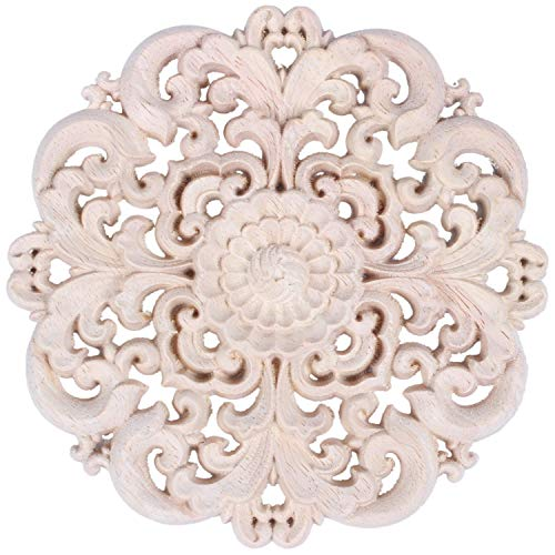 TANOU Talla De Madera, Decoración De Muebles Puerta De Madera Maciza Apliques Redondos Flor Figura De Artesanía En Miniatura Tormenta 12X12X2Cm