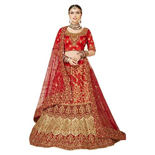 Rotes Brautkleid aus Seide, Lehenga Choli Dupatta, indisches Hochzeitskleid, Zari-Stickerei, Ghagra 9405