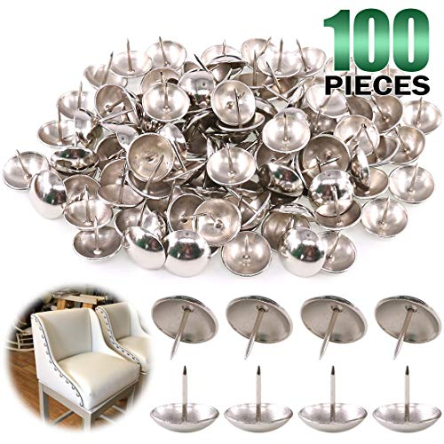 Keadic 100Pcs 1' (25mm) Antique Upholstery Tacks Furniture Nails Pins Assortment Kit for Upholstered Furniture Cork Board or DIY Projects - Silver