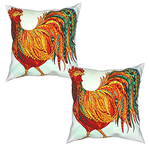 Pack of 2 Cushion Covers Pillowcases,Hand Drawn Doodle Outline Rooster Illustration,Square Throw Pillow Cases Plain Cushion Home Decor Decorations For Sofa Couch Bed Chair (45x45cm)x2