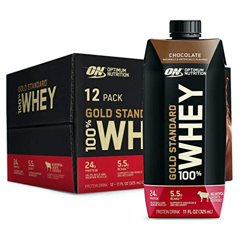 Optimum Nutrition Gold Standard 100% Whey Protein Shake, Ready to Drink, Gluten Free, 24g Protein, Chocolate, 11 Fl Oz, 12 Count