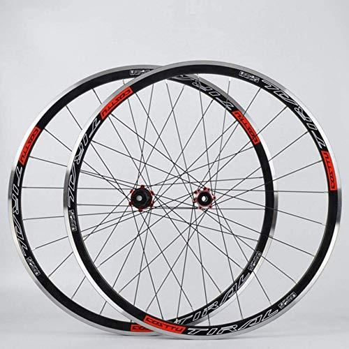 ZHTY Rad 700C Rennrad Radsatz Doppelwandige Leichtmetallfelgen-Scheibenbremse 7-11-Gang Carbon Hub Quick Release 24H Fahrrad Vorder- und Hinterräder
