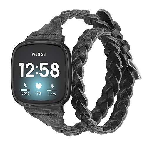 Glebo Compatible con Fitbit Versa 3/Fitbit Sense pulsera para mujer y niña, fina correa de cuero de doble recorrido, correa de repuesto compatible con Fitbit Versa 3/Sense, color negro