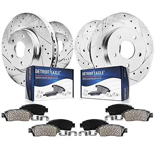 Detroit Axle - 300mm Front & 302mm Rear Drilled Slotted Rotors + Ceramic Brake...