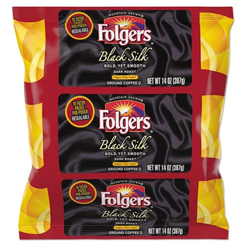 Folgers Coffee Filter Packs, Black Silk, 14 oz Pack, 4/Carton 2550000016