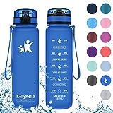 KollyKolla Botella Agua Sin BPA Deportes - 500ml, Reutilizables Ecológica Tritan Plástico, Bebidas Botellas con Filtro & Marcador de Tiempo, para Colegio, Tapa Abatible de 1 Clic, Zafiro Mate