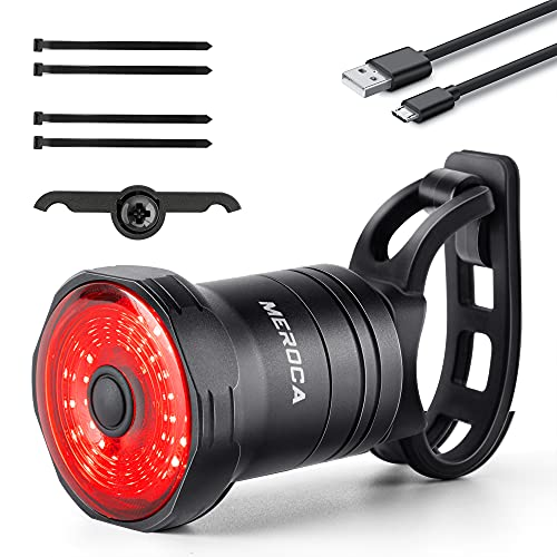 JONMONSM Luce Fanale Posteriore per Bicicletta - LED Ricaricabile USB Intelligente, Lampada per Bici Impermeabile IPX6, Fanale Posteriore per Avviso Notturno