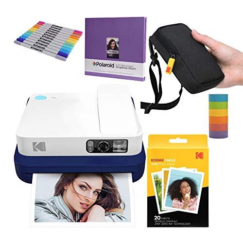 KODAK Smile Classic Digitale Sofortbildkamera mit Bluetooth (Blau) Kreativ-Bundle