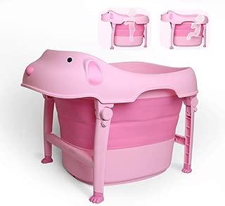 Children Safe Portable Foldable Bathtub, 29x21inch - Baby Bath Tub Kids Bath Tub Can Sit Lying Bath Tub for 6 Months to 10 Years Old Children (Pink)