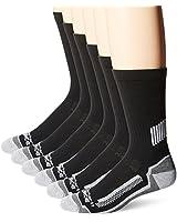 Carhartt Men's Force Performance Work Crew Socks (3/6 Packs), Black (6 Pack), Shoe Size: 6-12