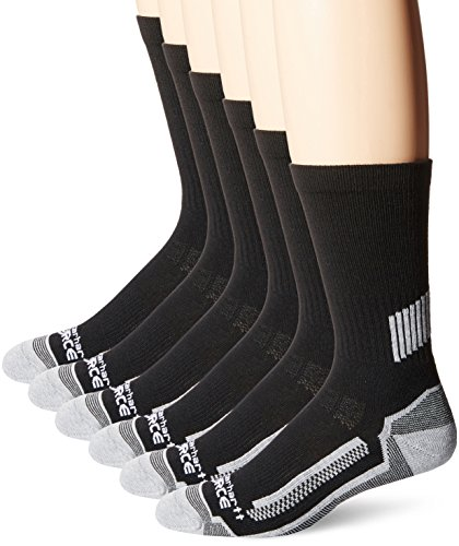 Carhartt Men's Force Performance Work Crew Socks (3/6 Packs), Black (6 Pack), Shoe Size: 6-12