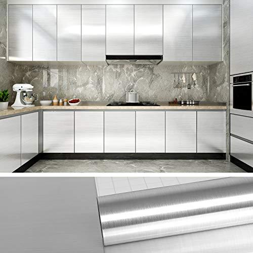 VEELIKE Effetto Alluminio Rotolo di Carta da Parati Lavabile Pellicola per Mobili Adesiva Rivestimento Cucina Pellicole Adesive Carta Adesiva per Mobili 40cm x 600cm