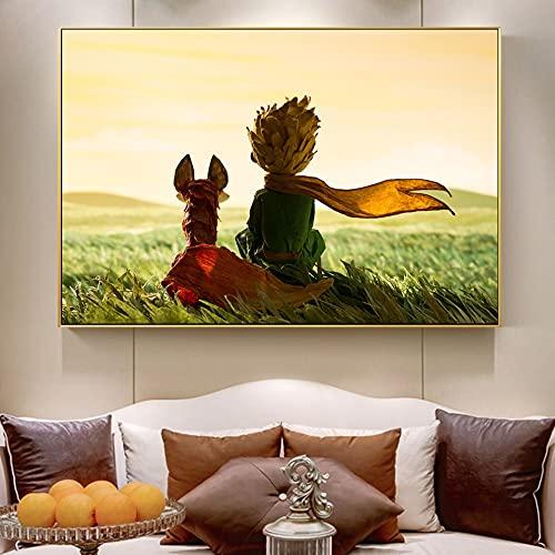 Pintura decorativa El Principito y el zorro cartel de cuento de hadas e impresiones de la habitación de los niños arte de la pared lienzo pintura cuadro de dibujos animados para del niño 50x75cm