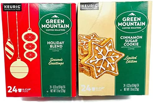 Green Mountain Cinnamon Sugar Cookie and Holiday Blend K Cups Coffee Variety Pack of 2 Boxes product image
