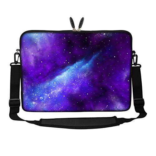 Meffort Inc 15 15.6 inch Neoprene Laptop Sleeve Bag Carrying Case with Hidden Handle and Adjustable Shoulder Strap - Galaxy Universe