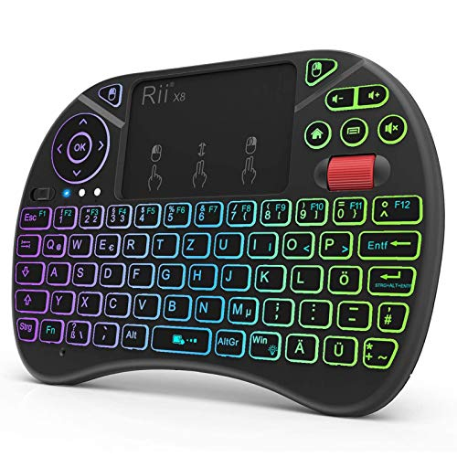 Rii X8 Mini Tastatur Wireless, 2,4 GHz Kabellos Tastatur mit 8 Farbige Hintergrundbeleuchtung, Touchpad und Scrollrad (Deutsches, Schwarz