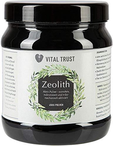 Vital Trust Zeolith Pulver – Detox Entgiftungskur – 100% Natürlich, Vegan - Ideal zum Abnehmen und Entschlacken, Natürliches Betonit Vulkan-Gestein, Heilerde, Körperentgiftung I 450g