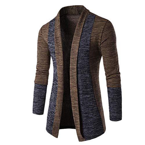 Suéteres para hombre de U/A para hombre y chaqueta de punto con bloqueo de color y todo tipo de cárdigans Marrón café XXL