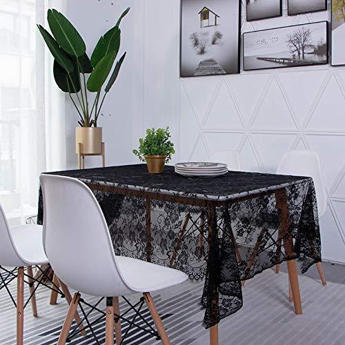 LMDY decoración del hogar Mantel Encaje NegroHueco Estilo nórdico Mantel de Escritorio literario Cuadrado 145 * 145 cm