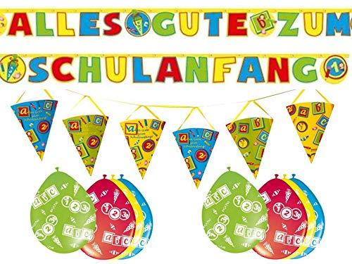 Dekoset zum Schulanfang 2 x Girlanden + 6 x Luftballons